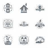 Environmental Logo Set. Simple Set Of 9 Environmental Vector Logo For Web Isolated On White Backgrou poster