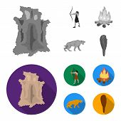 Man, Hunter, Onion, Bonfire .stone Age Set Collection Icons In Monochrome, Flat Style Vector Symbol  poster