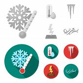 Humidity, Icicles, Thunderbolt, Windy Weather. Weather Set Collection Icons In Monochrome, Flat Styl poster