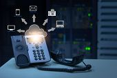Ip Telephony Cloud Pbx Concept, Telephone Device With Illustration Icon Of Voip Services And Network poster
