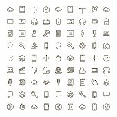 Mobile App Icon Set. Collection Of High Quality Outline Mobile Application Pictograms In Modern Flat poster