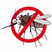 Cartoon Mosquito Repellent Sign. Vector Illustration Of A Cartoon Mosquito And Prohibition Sign. poster