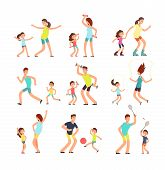 Fitness Family, Parents And Kids Training Together. Active Families Doing Sports Exercise Vector Fla poster