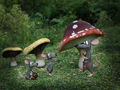 3d Rendering Of Cartoon Mouse Daddy Being Greeted By His Mice Kids At Night In A Fairytale Toadstool poster