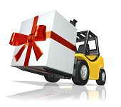 picture of fedex  - 3D rendered yellow forklift with big gift - JPG