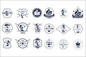 Collection Of Vintage Fishing Camp Logo Or Tournament Emblem Templates. Original Monochrome Labels W poster