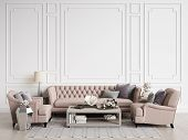 Classic Interior Room With Copy Space.sofa And Chairs In Beige An Pink Colors,sidetables With Lamps, poster