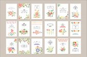 Collection Of Retro Card Templates With Different Flowers And Place For Text. Beautiful Blooming Pla poster