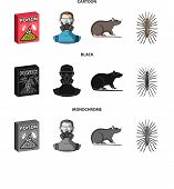 Staff, Packing With Poison And Pests Cartoon, Black, Monochrome Icons In Set Collection For Design.p poster