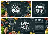 Cinco De Mayo Lettering And Mexican Traditional Food With Tequilla, Guacamole, Quesadilla, Enchilada poster
