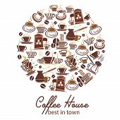 Coffeehouse Poster Of Coffee Cups And Coffee Makers For Cafe Or Cafeteria Design. Vector Icons Or Te poster
