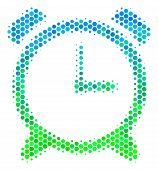 Halftone Dot Alarm Clock Pictogram. Pictogram In Green And Blue Shades On A White Background. Vector poster