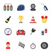 Sport Symbols Of Racing. Car, Motor, Track And Other Flat Icons. Vector Sport Vehicle, Auto Motor Ch poster