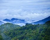stock photo of transpiration  - clouds settling over great smoky mountains - JPG