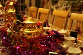 foto of tea party  - Beautiful table decorated for a tea party for Christmas - JPG