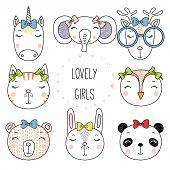 Set Of Hand Drawn Cute Funny Portraits Of Cat, Bear, Panda, Bunny, Reindeer, Unicorn, Owl, Elephant  poster