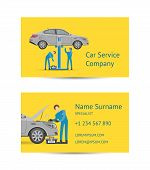Business Card Template For Auto Service Company. Mechanic In Uniform Repairing Automobile At Auto Se poster