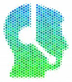Halftone Dot Call Center Operator Icon. Icon In Green And Blue Color Hues On A White Background. Vec poster