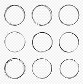Set Of Vector Hand Drawn Circles. Circular Scribble Doodle Round Circles For Message - Stock Vector. poster