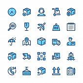 Delivery, Logistics Line Icons Set. Modern Graphic Design Concepts, Simple Symbols, Elements, Pictog poster