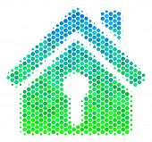 Halftone Dot Home Keyhole Icon. Pictogram In Green And Blue Shades On A White Background. Vector Mos poster