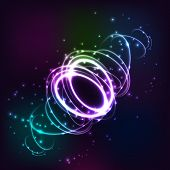 Neon Blurry Circles At Motion . Abstract Luminous Swirl Trail , Slow Shutter Speed Effect . Light Pa poster