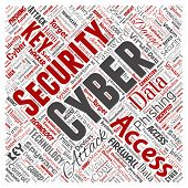 Conceptual cyber security online access technology square red word cloud isolated background. Collag poster
