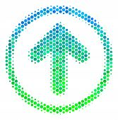 Halftone Dot Rounded Arrow Pictogram. Pictogram In Green And Blue Color Tints On A White Background. poster