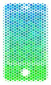 Halftone Dot Smartphone Pictogram. Pictogram In Green And Blue Color Tones On A White Background. Ve poster