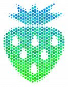 Halftone Dot Strawberry Pictogram. Pictogram In Green And Blue Color Tinges On A White Background. V poster