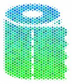 Halftone Dot Toilet Paper Roll Pictogram. Pictogram In Green And Blue Color Tints On A White Backgro poster