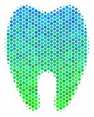 Halftone Round Spot Tooth Pictogram. Pictogram In Green And Blue Color Tinges On A White Background. poster