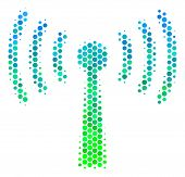 Halftone Circle Wi-fi Station Pictogram. Pictogram In Green And Blue Shades On A White Background. V poster