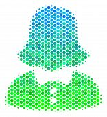 Halftone Round Spot Woman Pictogram. Pictogram In Green And Blue Color Hues On A White Background. V poster