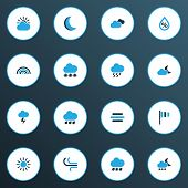 Climate Icons Colored Set With Wind, Moon, Breeze And Other Cold Weather Elements. Isolated Vector I poster