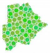 Постер, плакат: Botswana Map Mosaic Of Randomized Filled Circles In Different Sizes And Eco Green Color Hues Vector