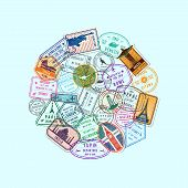 Vector World Immigration And Post Stamp Marks Gathered In Circle Illustration poster