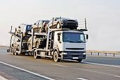picture of car carrier  - car carrier truck deliver new auto batch to dealer of my  - JPG