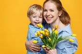 Concept Of Mothers Day. Mom And Baby Son With Flower On Colored Background. poster