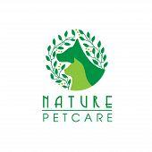 Natural Pet Care Logo, Pet And Eco Symbol Logo, Leaf Dog And Cat Logo,unique Pet And Organic Logotyp poster