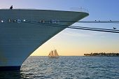 Big Cruise Ship And Small Sailing Boat, Size Comparison, Key West, Florida The Sunshine State, Usa poster