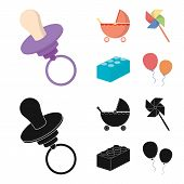Stroller, Windmill, Lego, Balloons.toys Set Collection Icons In Cartoon, Black Style Vector Symbol S poster