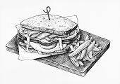 Hand-drawn club sandwich poster