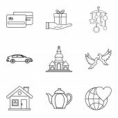 Companion Icons Set. Outline Set Of 9 Companion Vector Icons For Web Isolated On White Background poster