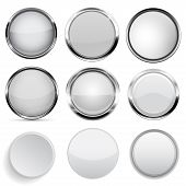 Glass And Plastic Buttons Collection. White Round 3d Buttons. Vector Illustration Isolated On White  poster