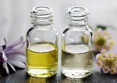 image of essential oil  - bottles of aromatic oil with natural ingridients - JPG