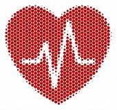Halftone Dot Cardiology Icon. Pictogram On A White Background. Vector Mosaic Of Cardiology Icon Desi poster