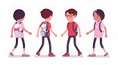 School Boy, Girl In Casual Wear Walking. Cute Small Children With A Rucksack, Active Young Friend Ki poster