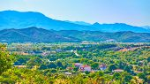 Greek rural landscape with village, Thessaly, Greece -  Picturesque greek scenery                    poster