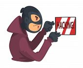 Data Theft. Hacker Wearing Mask Breaking Into Electronic Device Vector Illustration poster